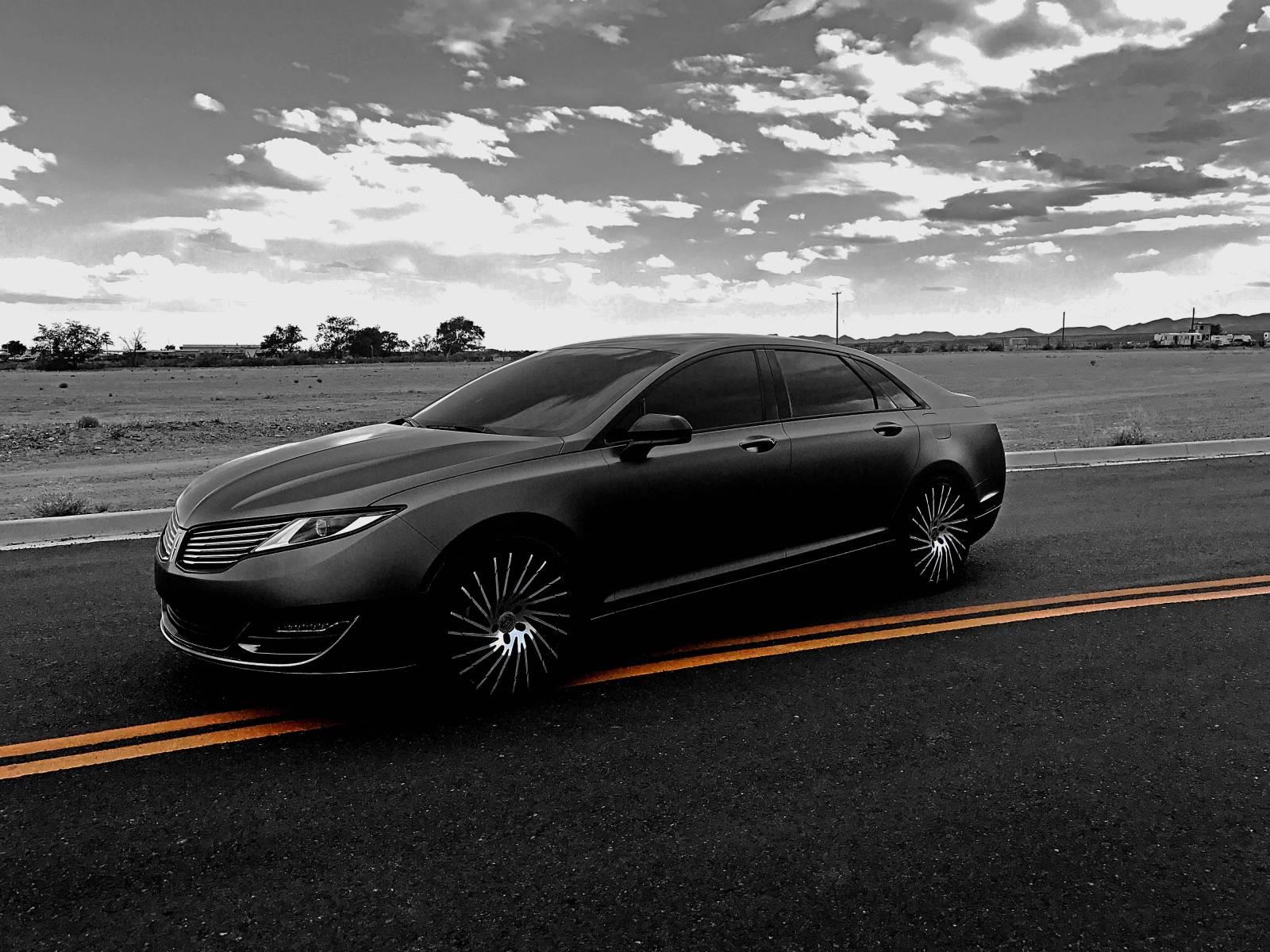 2014 MKZ 3M Wrapped in Satin Dark Grey. 20 inch Lexani wheels
